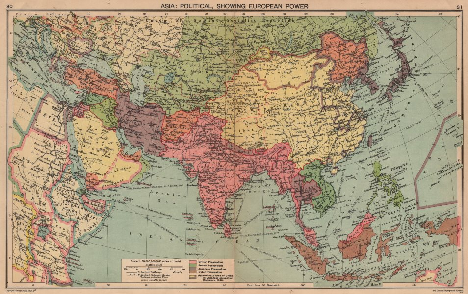 Associate Product WW2 ASIA. European colonies. Japanese occupied China. Manchukuo 1940 old map