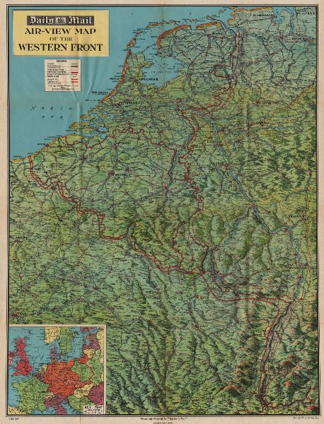Associate Product 'WESTERN FRONT' 1940 bird's eye view before invasion of France.WW2 1940 map