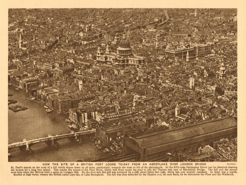 Associate Product The City of London seen from the air. Pre World War 2 1926 old vintage print