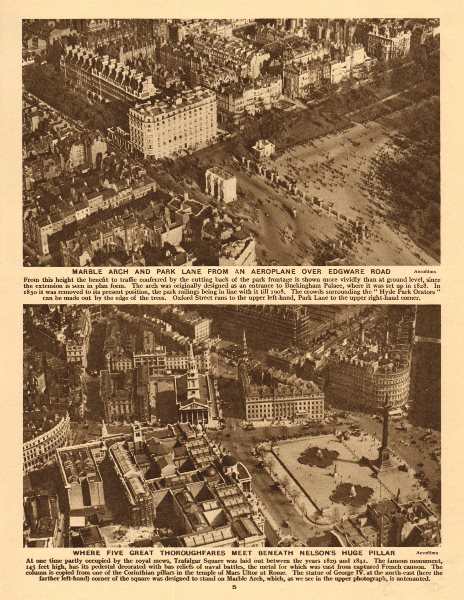 Associate Product Marble Arch, Park Lane & Trafalgar Square/Charing Cross from the air 1926
