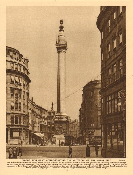 Associate Product Wren's Monument commemorating the Great Fire 1926 old vintage print picture