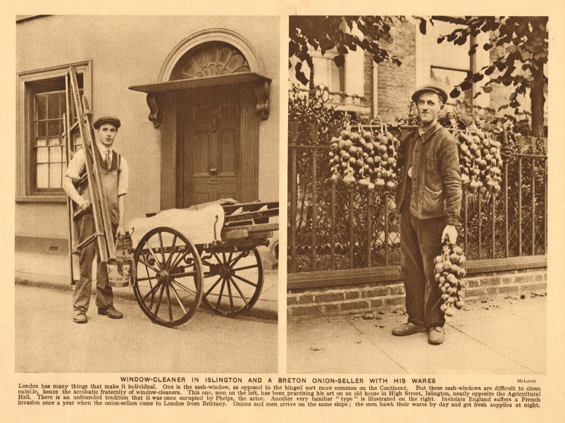 Associate Product Window-cleaner in Islington and a Breton onion-seller with his wares 1926