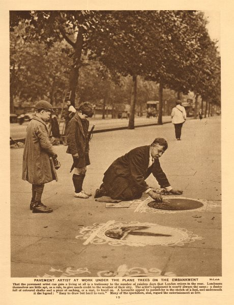 Associate Product Pavement artist at work under the plane trees on Embankment 1926 old print