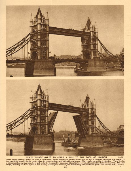 Tower Bridge opens to admit a ship to the Pool of London 1926 old print