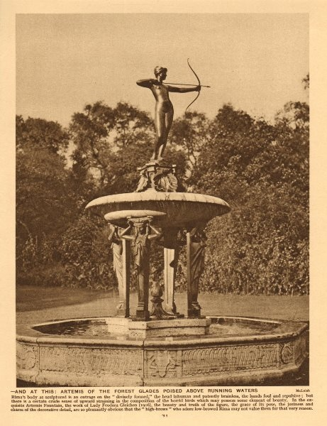 Associate Product Artemis Fountain by Lady Feodora Gleichen. Hyde Park 1926 old vintage print