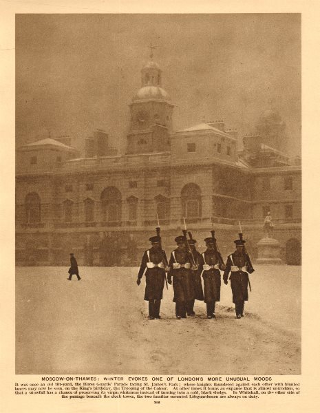 Associate Product Lifeguards marching in the snow, Horse Guards Parade 1926 old vintage print