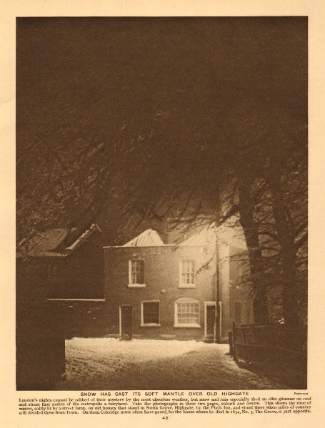 Associate Product Snow, South Grove, Highgate by the Flask Inn 1926 old vintage print picture