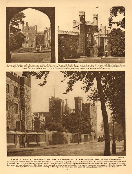 Associate Product Lambeth Palace, residence of the Archbishops of Canterbury 1926 old print