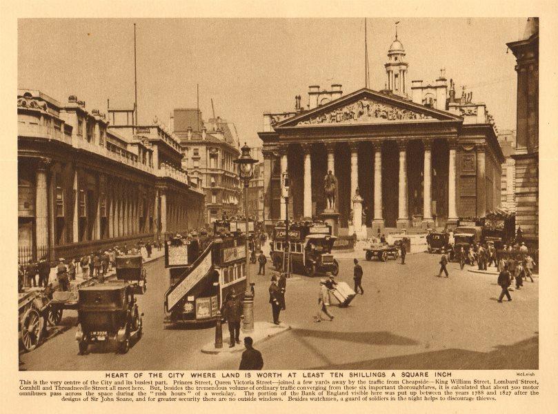 City of London. Royal Exchange. Bank of England. Omnibuses & cars 1926 print
