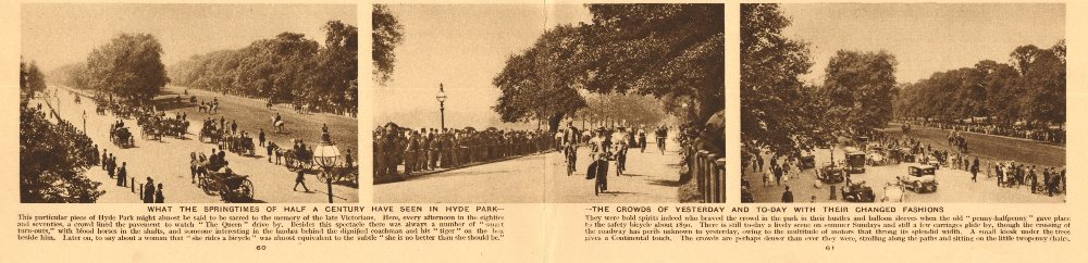 Associate Product 3 Hyde Park scenes. 1870's, c1900 & 1920's. carriages bicycles cars 1926 print