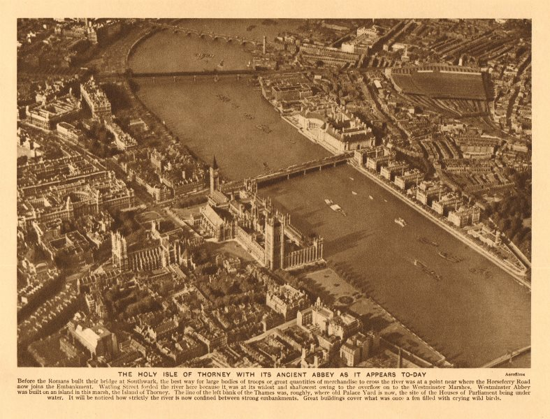 Associate Product 'The Holy Isle of Thorney'. Palace of Westminster. Abbey 1926 old print