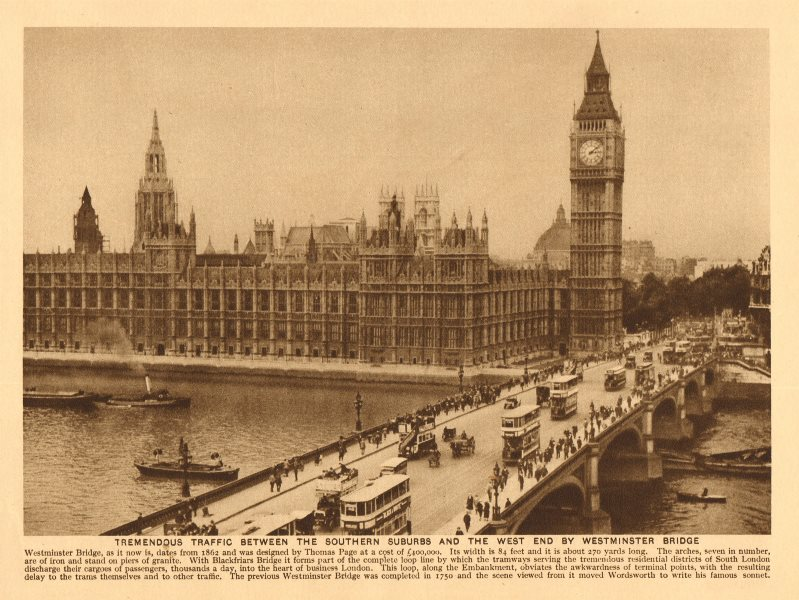 Associate Product Traffic on Westminster Bridge. Big Ben. Houses of Parliament. Omnibuses 1926