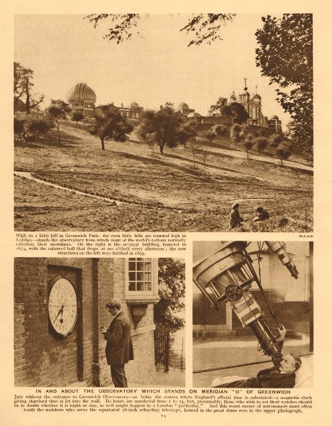 Associate Product The Greenwich observatory. Prime Meridian. Telescope 1926 old vintage print