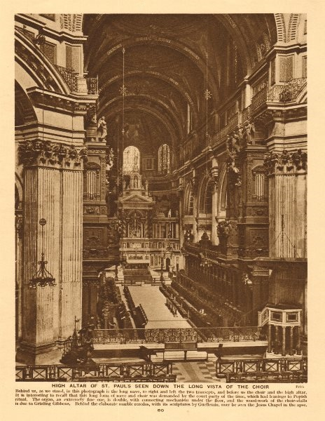 Associate Product High altar of St. Paul's cathedral seen down the choir 1926 old vintage print