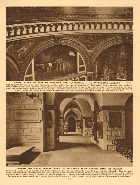 Associate Product St Paul's Cathedral. The Whispering Gallery & Crypt 1926 old vintage print