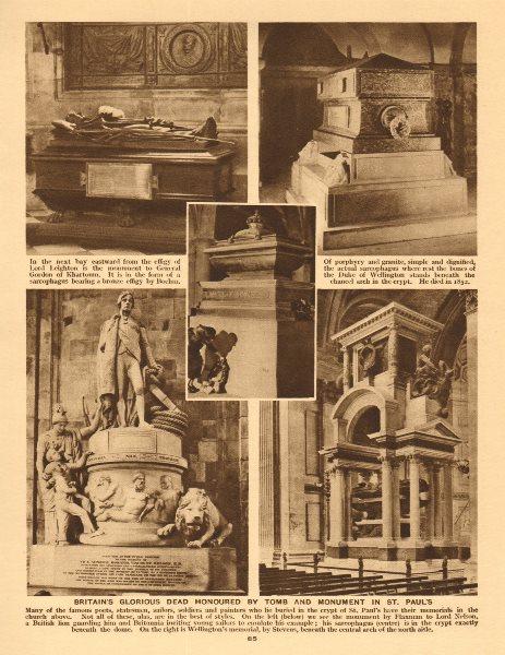 Associate Product St. Paul's Cathedral tombs. Nelson Duke of Wellington Gen. Gordon  1926 print