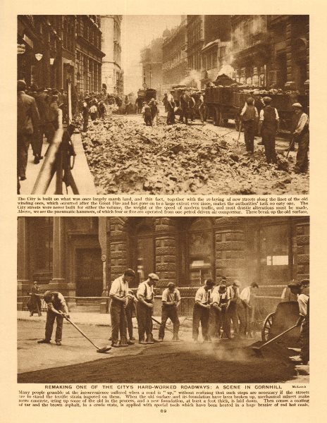 Associate Product Relaying the street in Cornhill. City of London 1926 old vintage print picture