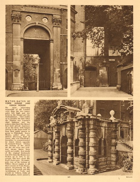 Associate Product The watergates of York House and Essex House. Strand/Embankment 1926 old print