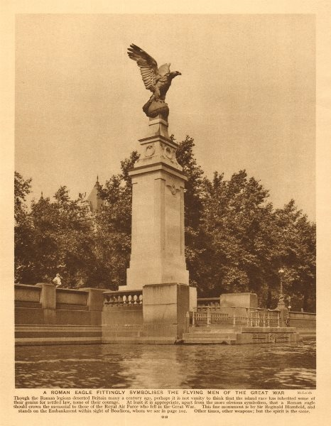 Associate Product Royal Air Force memorial, Embankment. First World War One 1926 old print