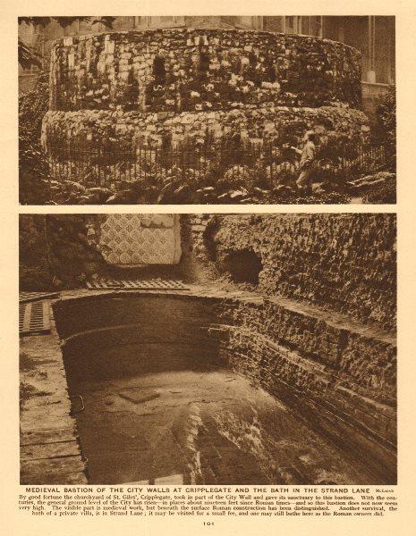 Associate Product City wall medieval bastion, Cripplegate. Roman bath, Strand Lane 1926 print
