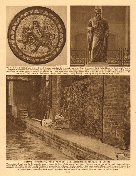 Associate Product Roman Pavement, Leadenhall Street. King Alfred. Roman Wall 1926 old print