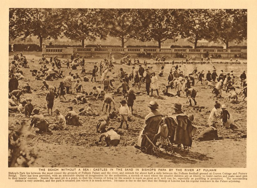 Associate Product Temporary beach in Bishop's Park, Fulham. Sandcastles 1926 old vintage print