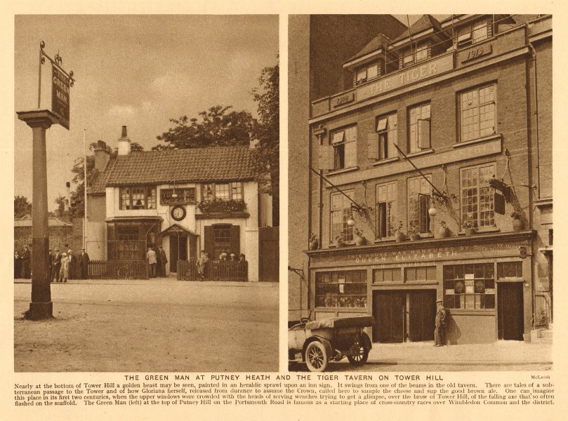 Associate Product The Green Man at Putney Heath. Tiger Tavern on Tower Hill 1926 old print