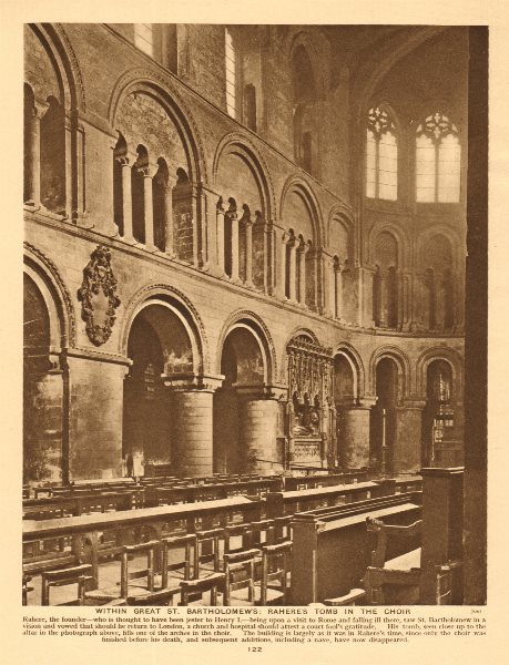 Associate Product Within Great St. Bartholomew's . Rahere's tomb in the choir 1926 old print