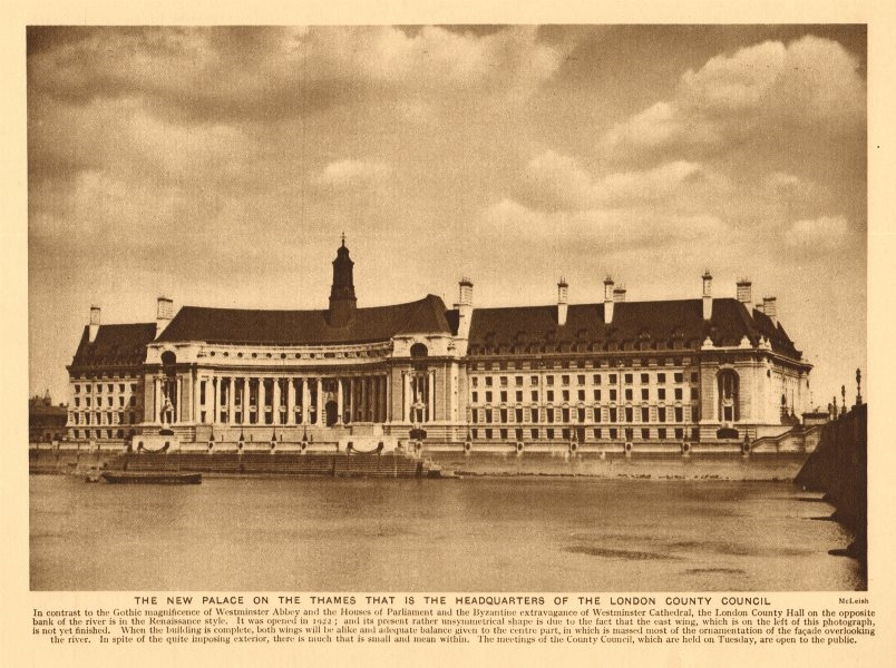 Associate Product County Hall, incomplete. London County Council headquarters 1926 old print