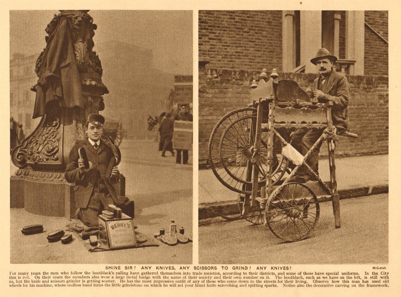Associate Product Shine Sir? Any knives, any scissors to grind? Shoe shine man 1926 old print