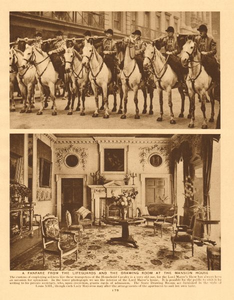 Associate Product Household cavalry fanfare. Lifeguards. Mansion House drawing room 1926 print