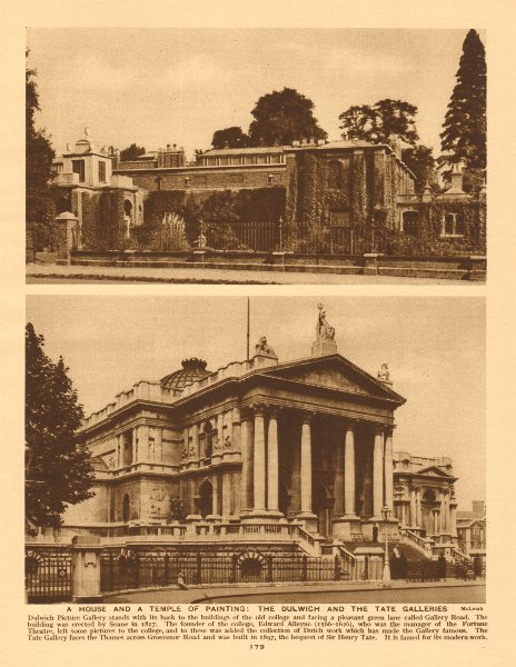 Associate Product Dulwich Picture Gallery and the Tate Gallery (now Tate Britain) 1926 old print