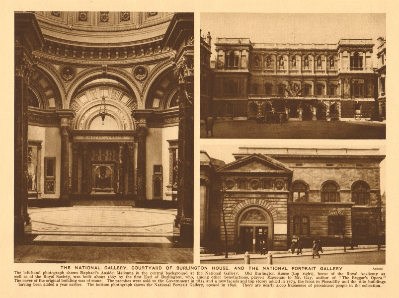 Associate Product National Gallery, Burlington House & National Portrait Gallery 1926 old print