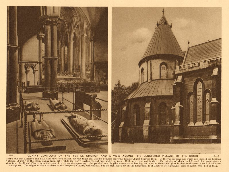 Associate Product Temple Church & view among the clustered pillars of its choir 1926 old print