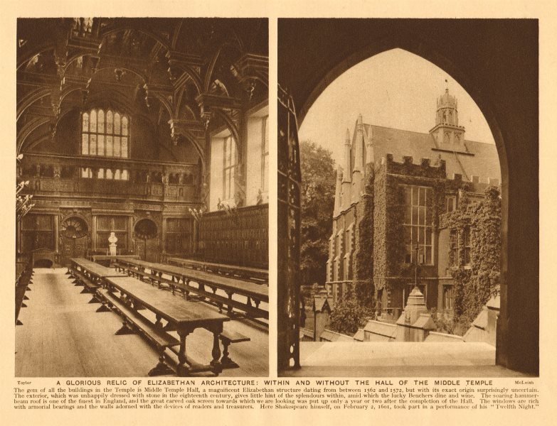 Associate Product Middle Temple. Inside & outside the Hall. Elizabethan architecture 1926 print