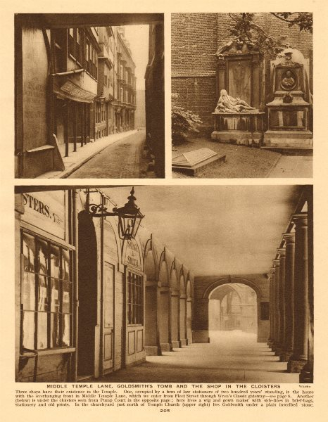 Associate Product Middle Temple Lane. Goldsmith's tomb. Cloisters.Savage & Smith Shop 1926 print