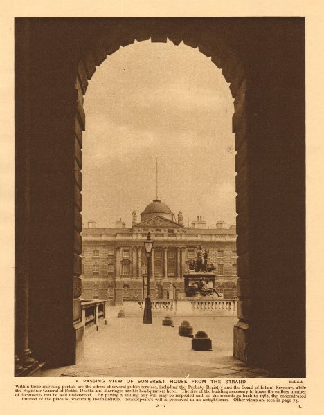 Associate Product A passing view of Somerset House from the Strand 1926 old vintage print