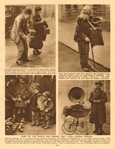 London street musicians/hawkers. Gramophone concertina toys 1926 old print