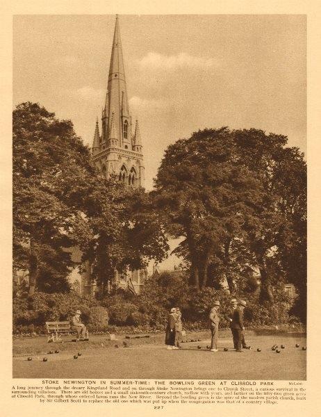 Associate Product Stoke Newington. Bowling green at Clissold Park. Parish church 1926 print
