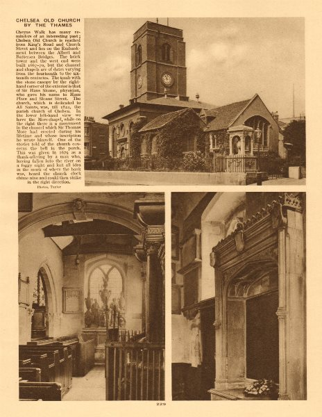 Associate Product Chelsea Old Church by the Thames. Cheyne Walk 1926 vintage print picture