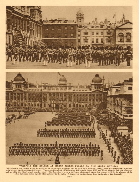 Trooping the Colour at Horse Guards Parade on the King's birthday 1926 print