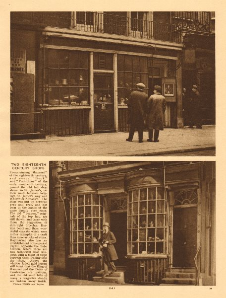 Associate Product Two eighteenth century shops in St James's and Haymarket 1926 old print