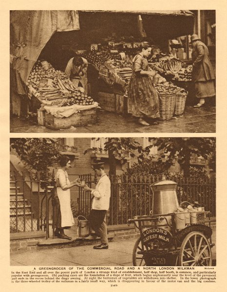 Associate Product A greengrocer of the Commercial Road and a north London milkman 1926 old print