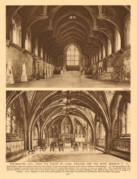 Associate Product Westminster Hall & St Stephen's Crypt beneath it 1926 old vintage print
