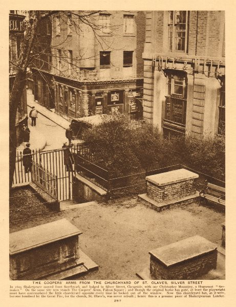 Cooper's Arms, Falcon Square. St. Olave's churchyard, Silver Street 1926 print
