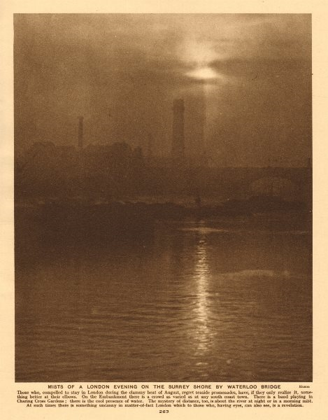 Associate Product Mists of a London evening on the Surrey shore by Waterloo Bridge 1926 print