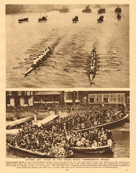 Associate Product Oxford & Cambridge boat race at Hammersmith Bridge. Crowds 1926 old print