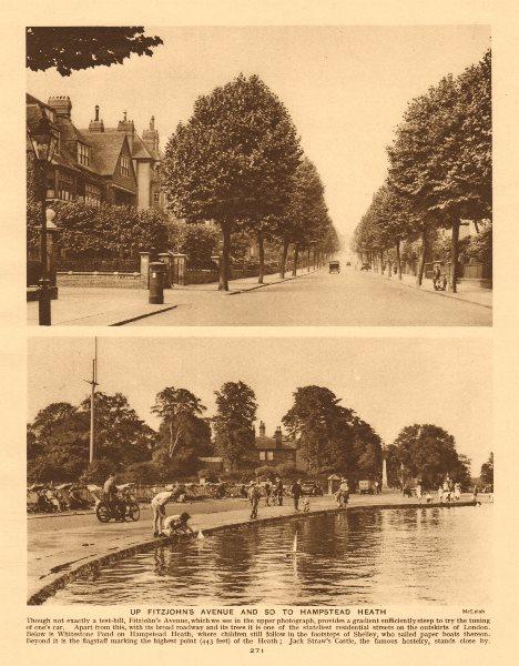 Associate Product Fitzjohn's Avenue. Whitestone Pond, Hampstead Heath 1926 old vintage print