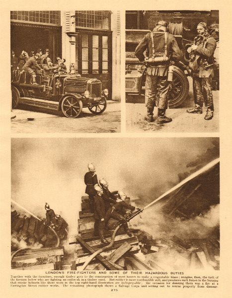 London's fire-fighters. Fire brigade 1926 old vintage print picture