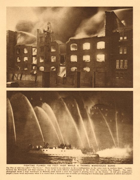 Associate Product London Fire Brigade. Fighting flames while a Thames warehouse burns 1926 print